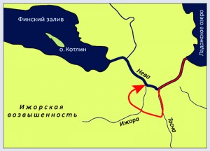 невская битва Физическая карта