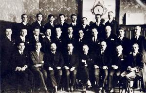 Участники Конгресса (1-го съезда ОУН), февраль 1929 года. В первом ряду в центре – Е.Коновалец